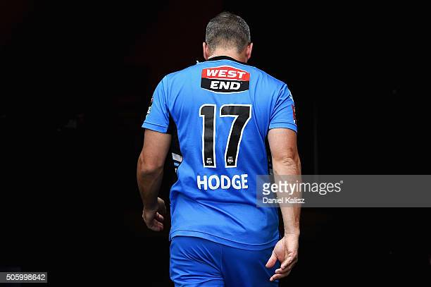 Brad Hodge of the Adelaide Strikers walks from the field prior to the Big Bash League Semi Final match between the Adelaide Strikers and the Sydney...
