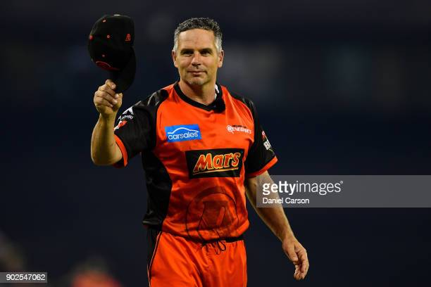 Brad Hodge of the Melbourne Renegades reacts to the Scorcher fans during the Big Bash League match between the Perth Scorchers and the Melbourne...