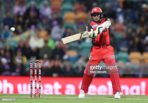 Brad Hodge of the Renegades bats during the Big Bash League match between the Hobart Hurricanes and the Melbourne Renegades at Blundstone Arena on...