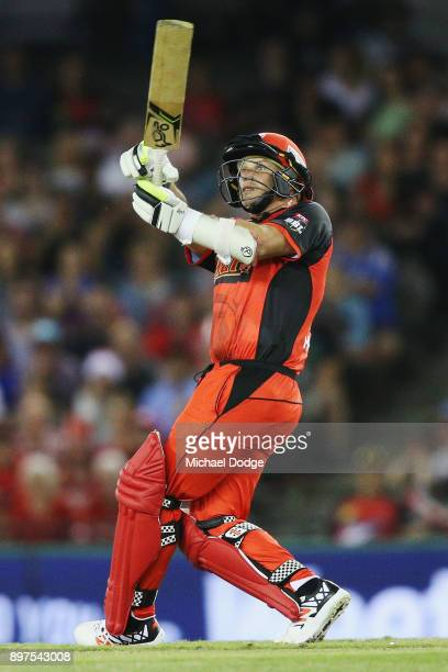 Brad Hodge of the Renegades bats during the Big Bash League match between the Melbourne Renegades and the Brisbane Heat at Etihad Stadium on December...