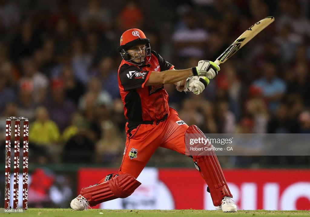 Brad Hodge of the Renegades bats during the Big Bash League match between the Melbourne Renegades and the Adelaide Strikers at Etihad Stadium on January 22, 2018 in Melbourne, Australia.