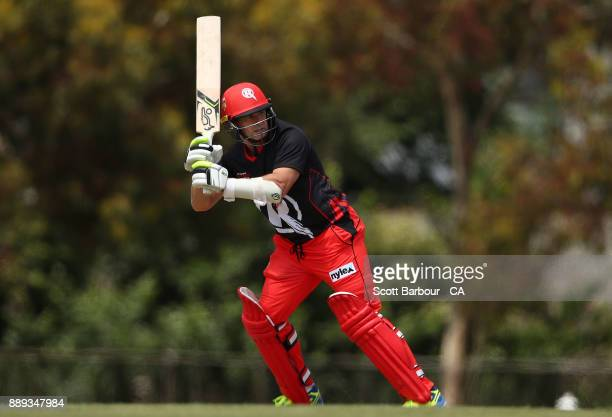 Brad Hodge of the Renegades bats during the practice match during the Melbourne Renegades BBL fan day at Geelong Cricket Ground on December 10 2017...