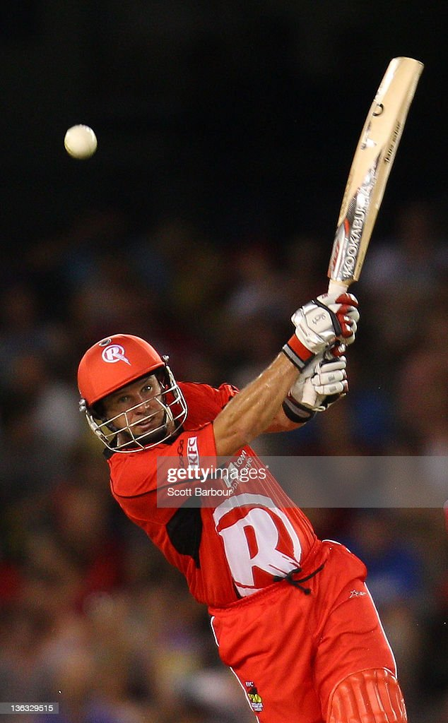 Brad Hodge of the Renegades bats during the T20 Big Bash League match between the Melbourne Renegades and the Sydney Sixers at Etihad Stadium on January 2, 2012 in Melbourne, Australia.