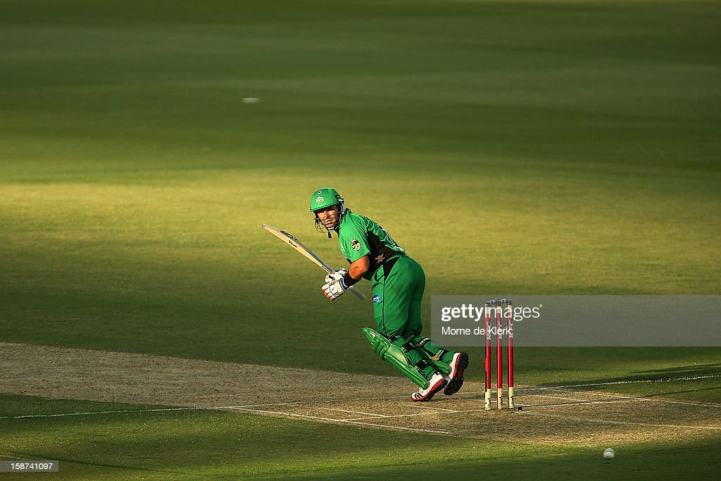 Brad Hodge of the Stars bats during the Big Bash League match between the Adelaide Strikers and the Melbourne Stars at Adelaide Oval on December 27, 2012 in Adelaide, Australia.
