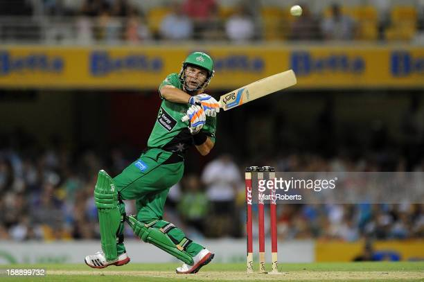 Brad Hodge of the Stars bats during the Big Bash League match between the Brisbane Heat and the Melbourne Stars at The Gabba on January 3 2013 in...