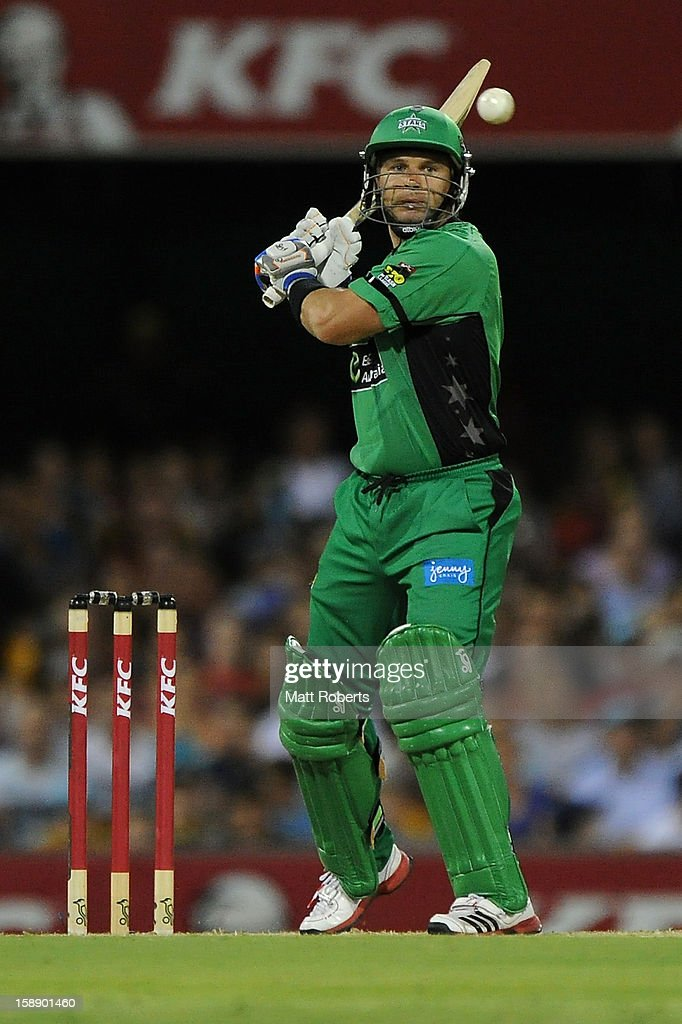 Brad Hodge of the Stars bats during the Big Bash League match between the Brisbane Heat and the Melbourne Stars at The Gabba on January 3, 2013 in Brisbane, Australia.