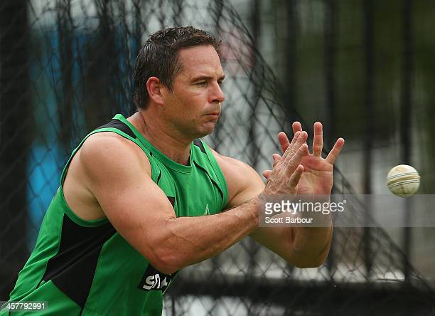 Brad Hodge of the Stars catches the ball during a Melbourne Stars Big Bash League training session at the Melbourne Cricket Ground on December 19...