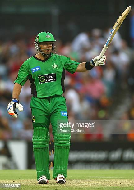 Brad Hodge of the Stars celebrates after scoring his half century during the Big Bash League semifinal match between the Perth Scorchers and the...