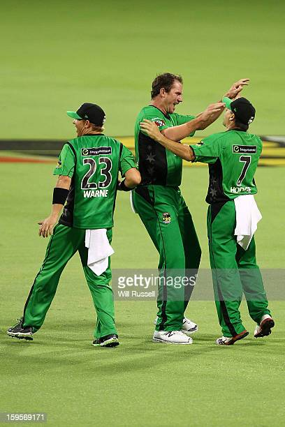 Brad Hodge of the Stars celebrates after taking a catch off Nathan CoulterNile during the Big Bash League semifinal match between the Perth Scorchers...