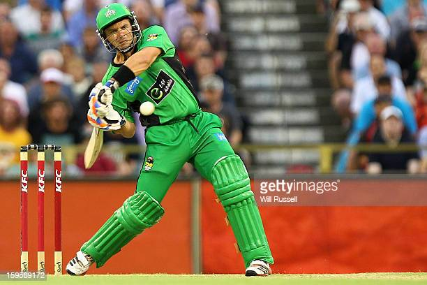 Brad Hodge of the Stars hits the ball during the Big Bash League semifinal match between the Perth Scorchers and the Melbourne Stars at the WACA on...