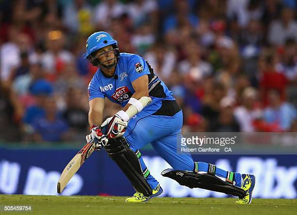 Brad Hodge of the Stikers bats during the Big Bash League match between the Melbourne Renegades and the Adelaide Strikers at Etihad Stadium on...