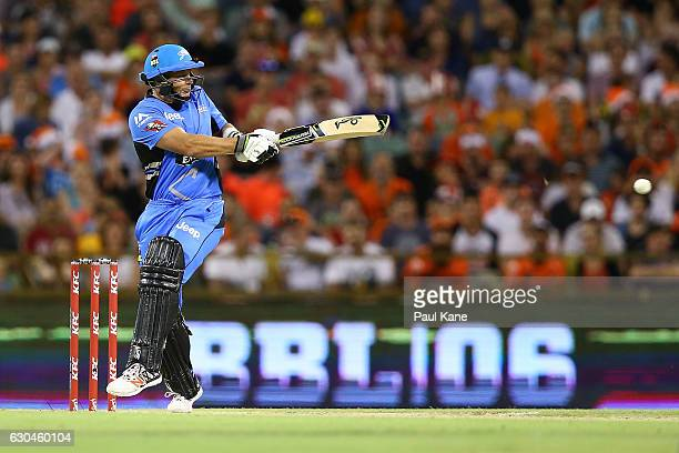 Brad Hodge of the Strikers bats during the Big Bash League between the Perth Scorchers and Adelaide Strikers at WACA on December 23 2016 in Perth...