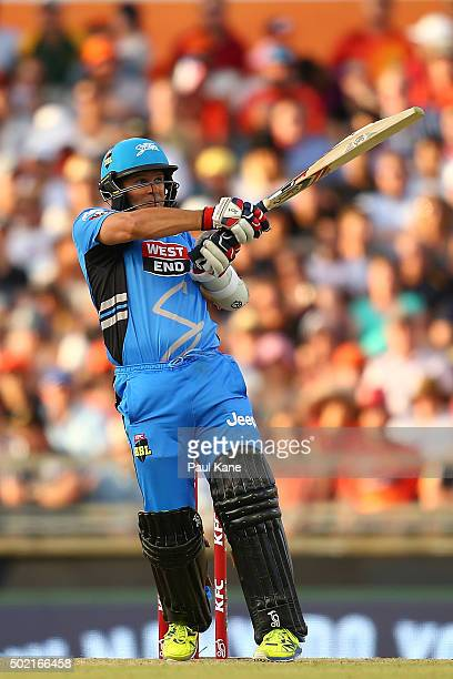 Brad Hodge of the Strikers bats during the Big Bash League match between Perth Scorchers and Adelaide Strikers at WACA on December 21 2015 in Perth...