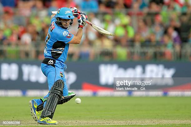Brad Hodge of the Strikers bats during the Big Bash League match between the Sydney Thunder and Adelaide Strikers at Spotless Stadium on December 28...