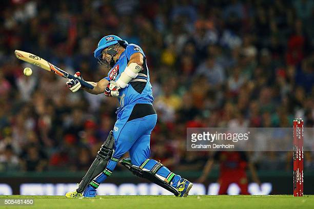 Brad Hodge of the Strikers bats during the Big Bash League match between the Melbourne Renegades and the Adelaide Strikers at Etihad Stadium on...