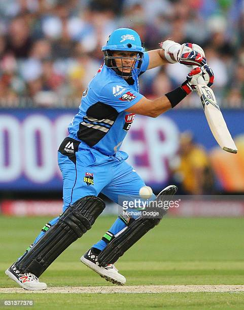 Brad Hodge of the Strikers bats during the Big Bash League match between the Melbourne Stars and the Adelaide Strikers at Melbourne Cricket Ground on...