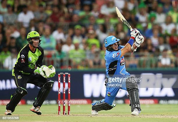 Brad Hodge of the Strikers bats during the Big Bash League match between the Sydney Thunder and the Adelaide Strikers at Spotless Stadium on January...