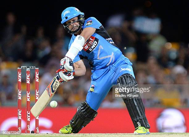 Brad Hodge of the Strikers plays a shot during the Big Bash League match between the Brisbane Heat and the Adelaide Strikers at The Gabba on January...