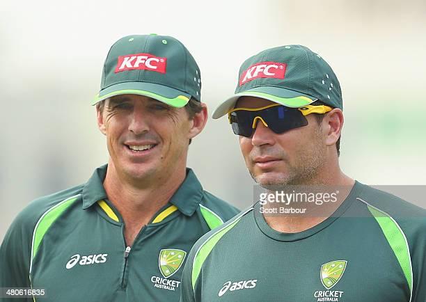 Brad Hogg and Brad Hodge of Australia look on during an Australian ICC World Twenty20 Bangladesh 2014 training session at Khan Saheb Osman Ali...