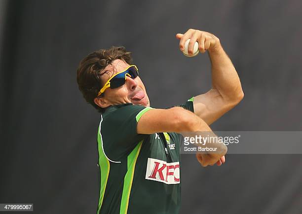 Brad Hogg of Australia bowls during a nets session ahead of the ICC World Twenty20 Bangladesh 2014 at ShereBangla Mirpur Stadium on March 22 2014 in...