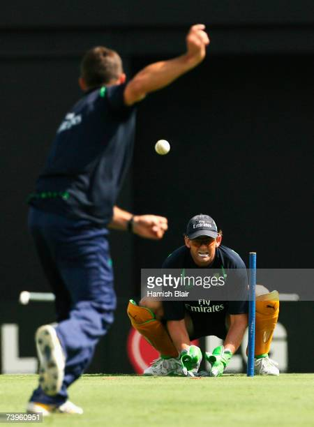 Brad Hogg of Australia bowls to Adam Gilchrist of Australia during an Australia team training session at the Beausejour Cricket Ground on April 24...