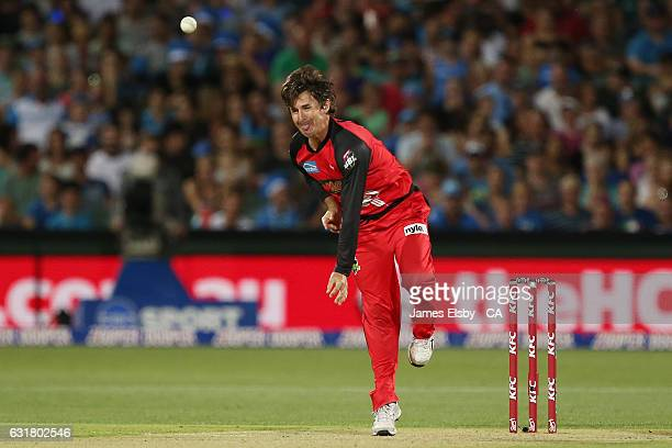 Brad Hogg of Melbourne bowls during the Big Bash League match between the Adelaide Strikers and the Melbourne Renegades at Adelaide Oval on January...