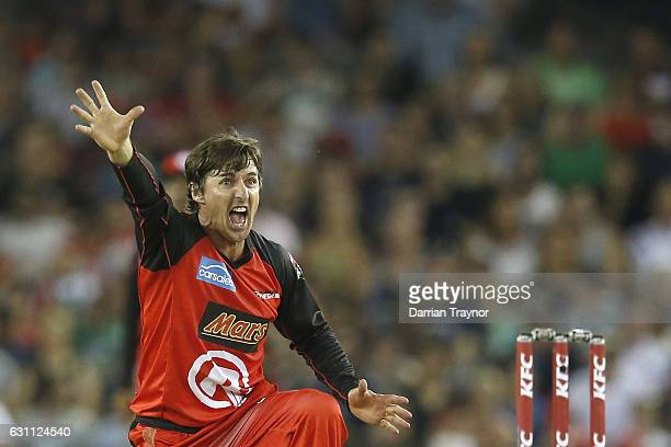 Brad Hogg of the Melbourne Renegades appeals during the Big Bash League match between the Melbourne Renegades and the Melbourne Stars at Etihad...