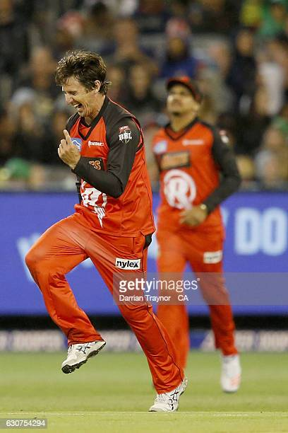 Brad Hogg of the Melbourne Renegades celebrates a wicket during the Big Bash League match between the Melbourne Stars and Melbourne Renegades at...