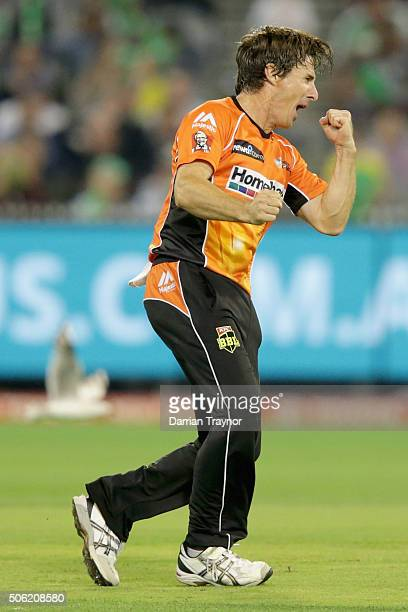 Brad Hogg of the Perth Scorchers celebrates taking the wicket of Marcus Stoinis of the Melbourne Stars during the Big Bash League Semi Final match...