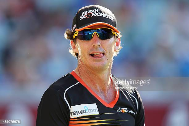 Brad Hogg of the Perth Scorchers looks on during the Big Bash League match between the Adelaide Strikers and the Perth Scorchers at Adelaide Oval on...