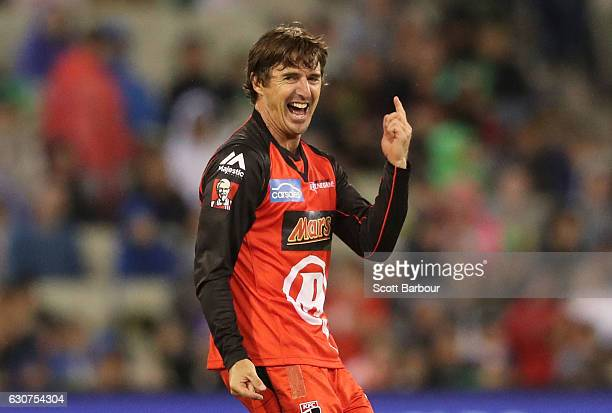 Brad Hogg of the Renegades appeals successfully to dismiss Sam Harper of the Stars during the Big Bash League match between the Melbourne Stars and...