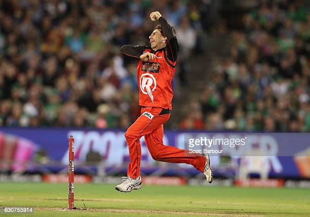 Brad Hogg of the Renegades bowls during the Big Bash League match between the Melbourne Stars and Melbourne Renegades at Melbourne Cricket Ground on...