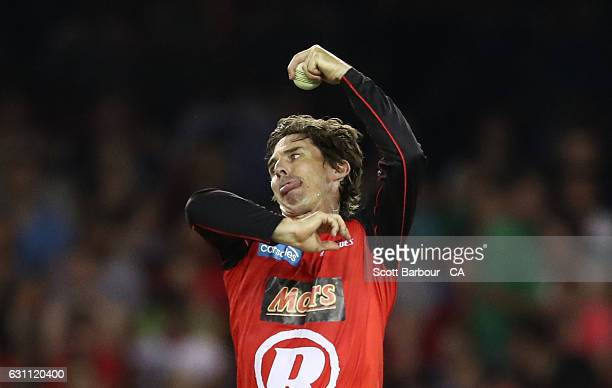 Brad Hogg of the Renegades bowls during the Big Bash League match between the Melbourne Renegades and the Melbourne Stars at Etihad Stadium on...
