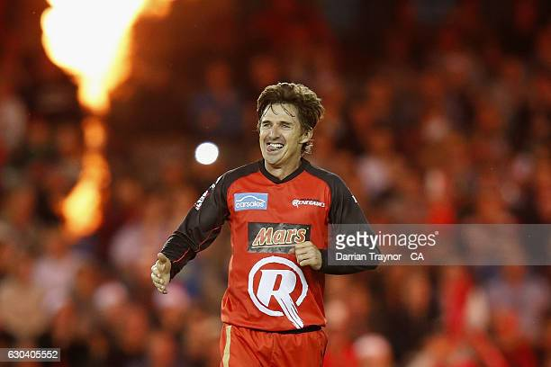 Brad Hogg of the Renegades celebrates a wicket during the Big Bash League match between the Melbourne Renegades and Sydney Thunder at Etihad Stadium...