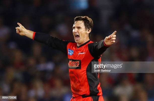 Brad Hogg of the Renegades celebrates after dismissing Ashton Agar of the Scorchers during the Big Bash League match between the Melbourne Renegades...