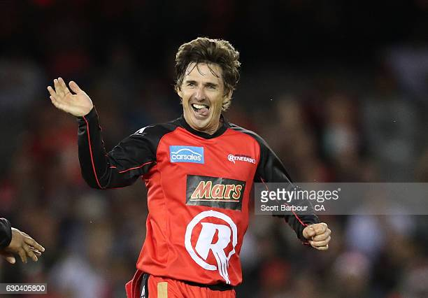 Brad Hogg of the Renegades celebrates after dismissing Ben Rohrer of the Thunder during the Big Bash League match between the Melbourne Renegades and...
