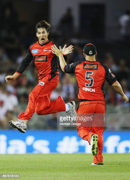 Brad Hogg of the Renegades celebrates the wicket of Ben Cutting during the Big Bash League match between the Melbourne Renegades and the Brisbane...