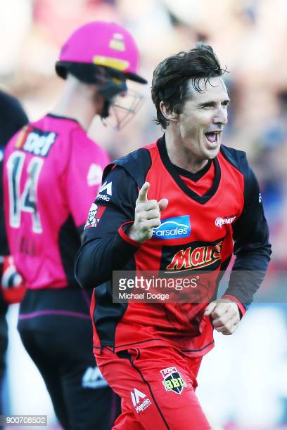 Brad Hogg of the Renegades celebrates the wicket of Jordan Silk of the Sixers during the Big Bash League match between the Melbourne Renegades and...