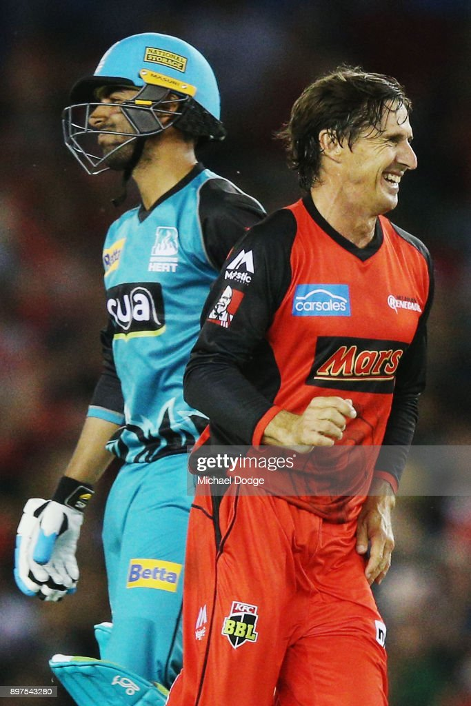 Brad Hogg of the Renegades celebrates the wicket of Shadab Khan of the Heat during the Big Bash League match between the Melbourne Renegades and the Brisbane Heat at Etihad Stadium on December 23, 2017 in Melbourne, Australia.