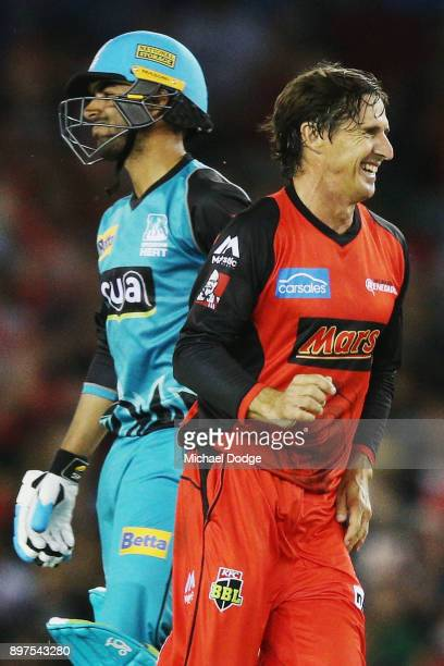 Brad Hogg of the Renegades celebrates the wicket of Shadab Khan of the Heat during the Big Bash League match between the Melbourne Renegades and the...