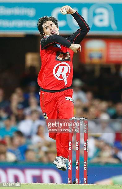 Brad Hogg of the Renegades during the Big Bash League match between the Brisbane Heat and the Melbourne Renegades at The Gabba on January 20 2017 in...