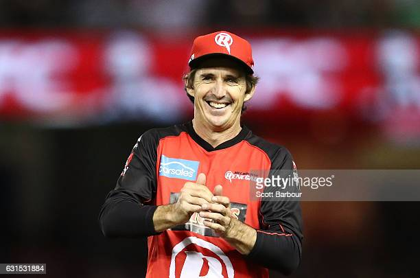 Brad Hogg of the Renegades gestures to the crowd during the Big Bash League match between the Melbourne Renegades and the Hobart Hurricanes at Etihad...