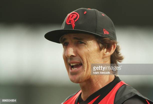 Brad Hogg of the Renegades talks to fans during the Big Bash League match between the Hobart Hurricanes and the Melbourne Renegades at Blundstone...