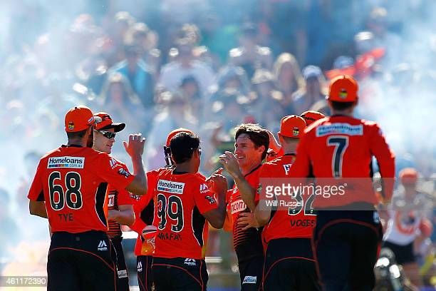 Brad Hogg of the Scorchers celebrates after taking the wicket of Chris Lynn of the Heat during the Big Bash League match between the Perth Scorchers...