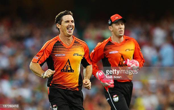 Brad Hogg of the Scorchers celebrates getting the wicket of Nic Maddinson of the Sixers during the T20 Big Bash League match between the Sydney...