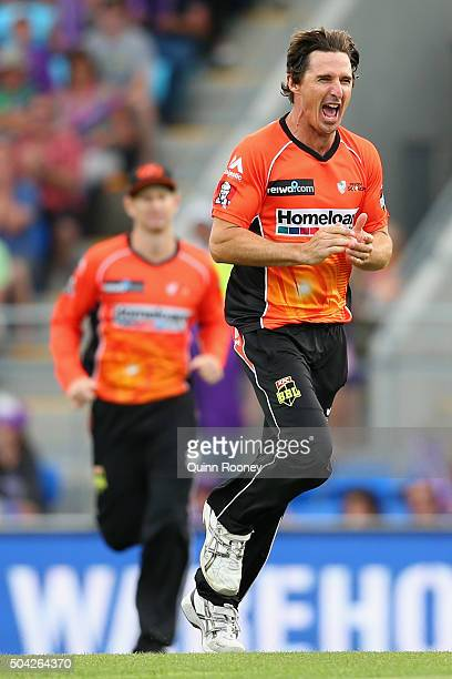 Brad Hogg of the Scorchers celebrates taking a wicket Dan Christian of the Hurricanes during the Big Bash League match between the Hobart Hurricanes...