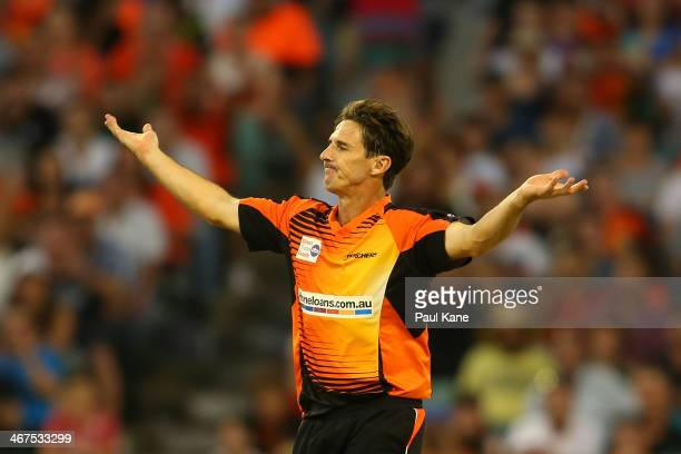 Brad Hogg of the Scorchers celebrates the wicket of Jonathan Wells of the Hurricanes during the Big Bash League Final match between the Perth...