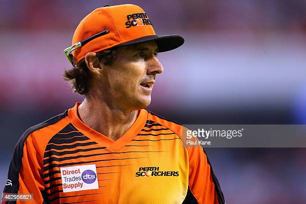 Brad Hogg of the Scorchers looks on during the Big Bash League match between the Perth Scorchers and the Adelaide Strikers at WACA on January 16 2014...