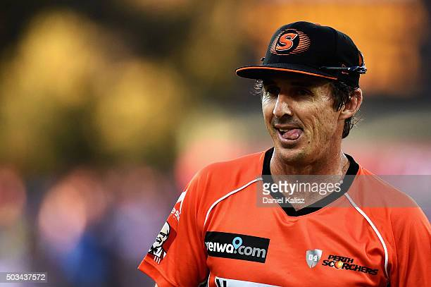 Brad Hogg of the Scorchers looks on during the Big Bash League match between the Adelaide Strikers and Perth Scorchers at Adelaide Oval on January 5...