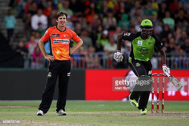 Brad Hogg of the Scorchers looks on during the Big Bash League match between the Sydney Thunder and the Perth Scorchers at Spotless Stadium on...